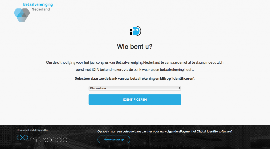 iDIN signup developed by Maxcode