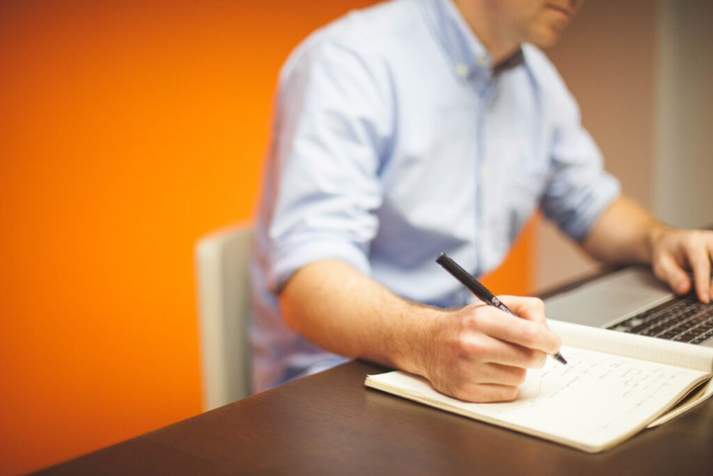 Person going through an elearning program